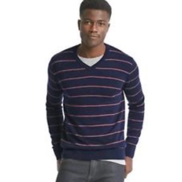 GAP Other - Gap Merino Wool Slim V-Neck Navy Stripe Sweater